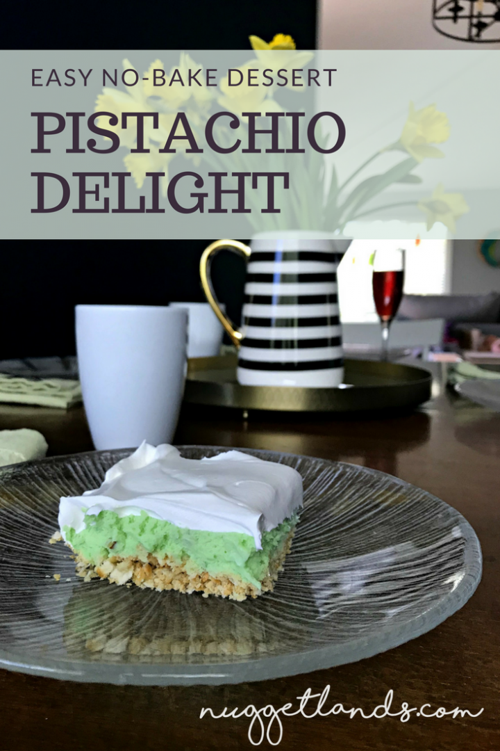 Easy, layered, no bake pistachio dessert that is both sweet and salty with a whipped topping. Perfect for Easter Bruch, Mother's Day Brunch, St Patrick's day or just a summer BBQ. Can be made nut-free! #dessert #pistachio #nobake #allergyfriendly #recipe