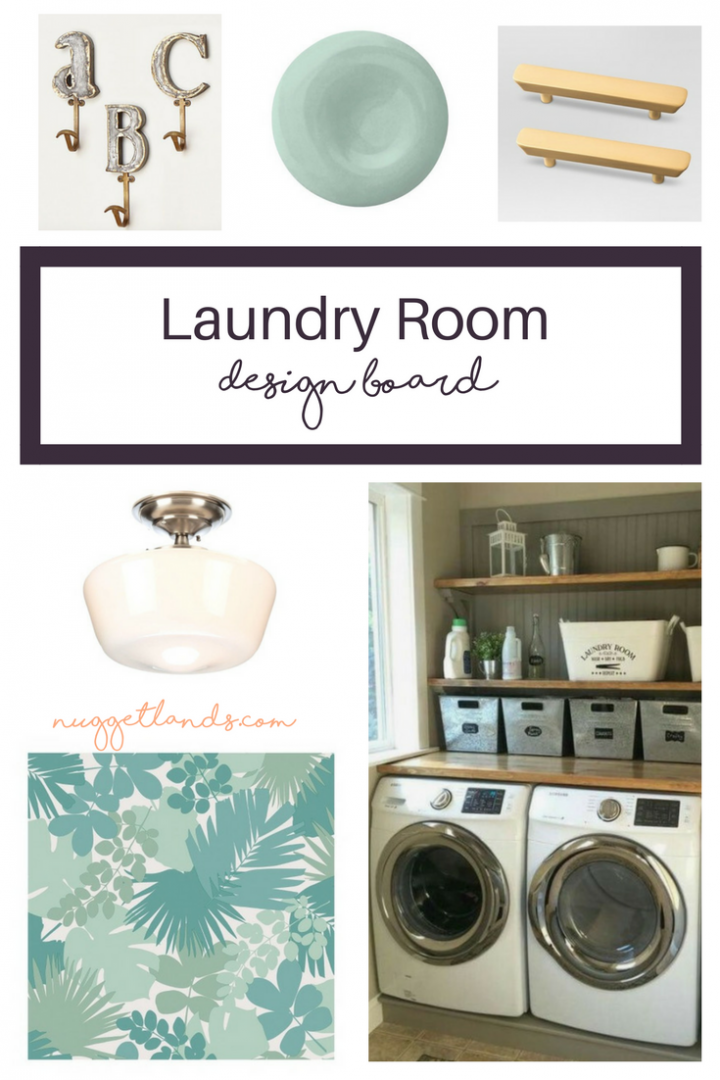 Laundry room makeover design board. Small, DIY and on a budget this remodel will include painting cabinets, installing a stained wood farmhouse countertop and peel and stick wallpaper in a bold print. #DIY #makeover #laundry #smallspace