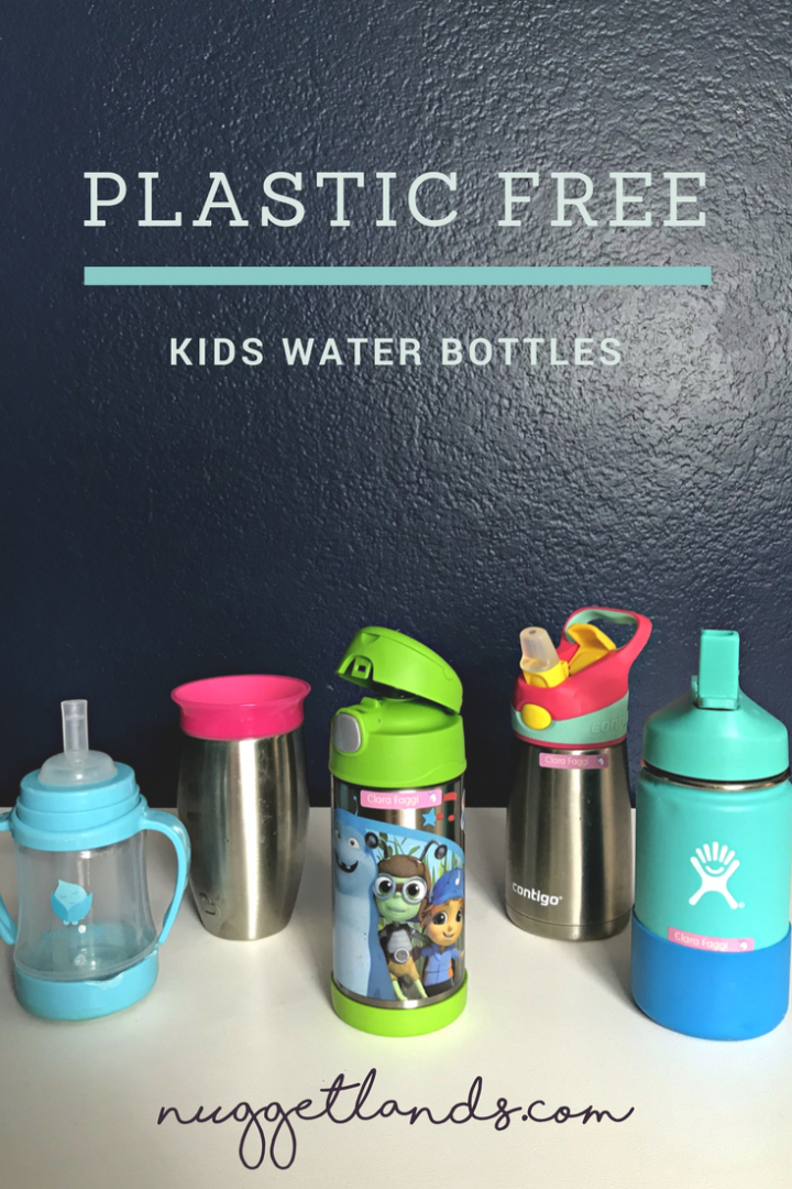 The best plastic free kids water bottles including the best custom and personalized labels. Perfect for school or daycare, 5 product options that range from stainless steel to glass and silicone. #productreview #kidfriendly #preschool #backtoschool